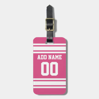 Sports Jersey with Name and Number - Pink White Bag Tag