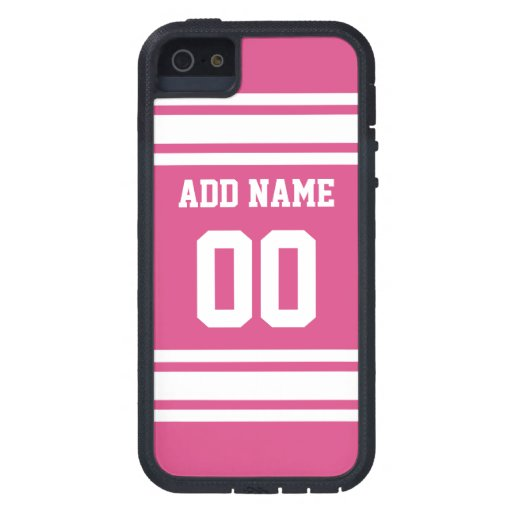 Sports Jersey with Name and Number - Pink White iPhone 5 Cases