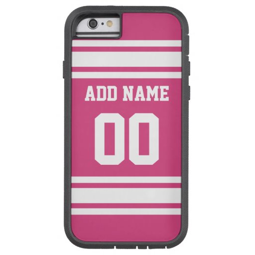 Sports Jersey with Name and Number - Pink White iPhone 6 Case