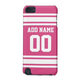 Sports Jersey with Name and Number - Pink White iPod Touch (5th Generation) Cover