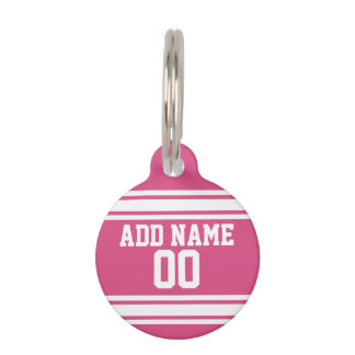 Sports Jersey with Name and Number - Pink White Pet Nametags