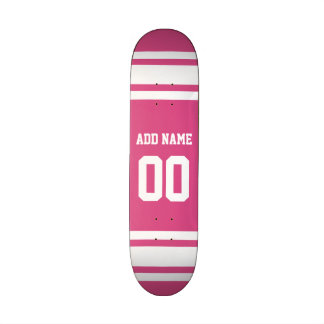 Sports Jersey with Name and Number - Pink White Skateboard Deck