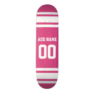 Sports Jersey With Name And Number - Pink White Skateboard Deck at Zazzle