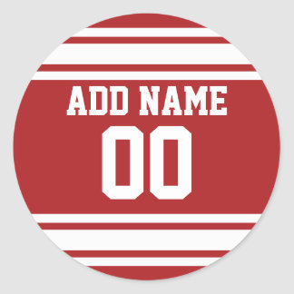 Sports Jersey with Your Name and Number Classic Round Sticker