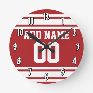 Sports Jersey with Your Name and Number Round Wallclock