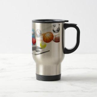 Sports laptop app concept coffee mug