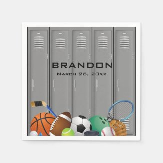 Sports Locker Room Design Paper Napkins
