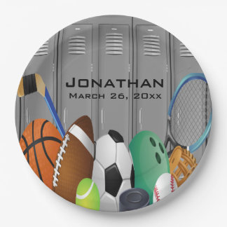 Sports Locker Room Design Paper Party Plate