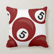 sports no 5 red billiards balls throw pillow