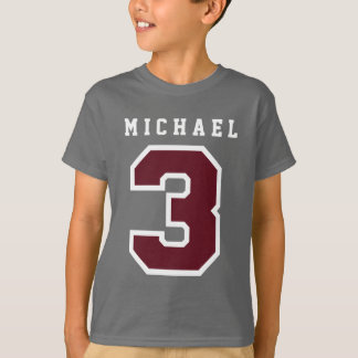Sports Number 3rd Birthday Tee GRAY A05