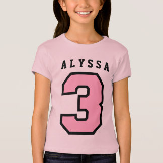 Sports Number 3rd Birthday Tee PINK A15