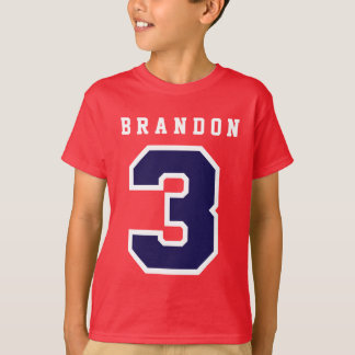 Sports Number 3rd Birthday Tee RED A03