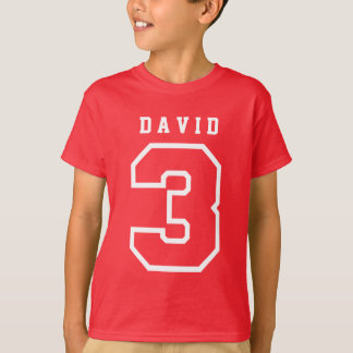 Sports Number 3rd Birthday Tee RED A11