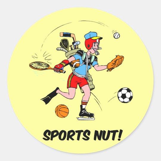 sports nut classic round sticker
