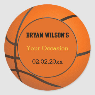 Sports Party Baskeball theme Personalized stickers