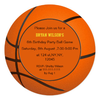 Sports Party Basketball theme Personalized Invites