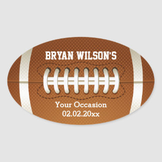 Sports Party football theme Oval Sticker