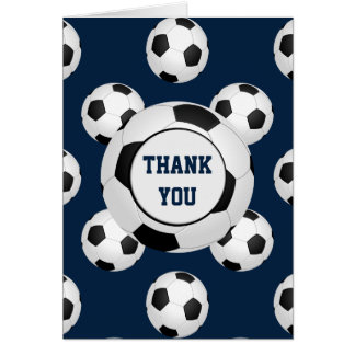 Sports Party Soccer theme Personalized Thank You Card