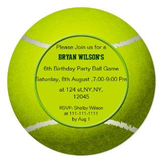 "Sports Party Tennis theme photo Invites 5.25"" Square Invitation Card"