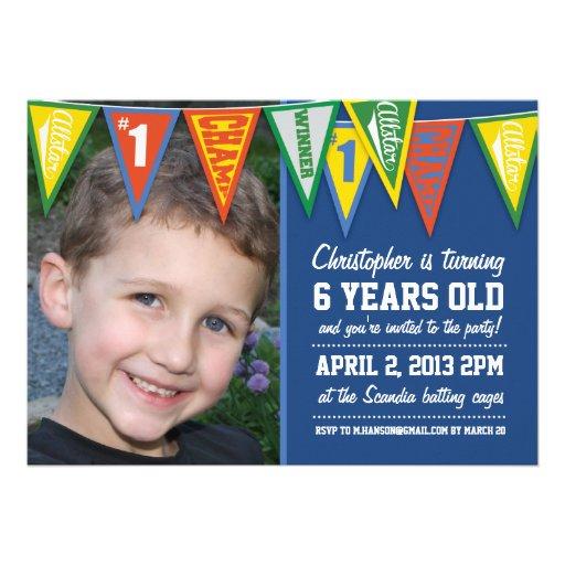 Sports Pennants Boys Birthday Invitation
