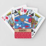 SPORTS Personalize Name Baseball Fan Fun Pattern Bicycle Playing Cards