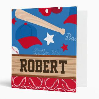 SPORTS Personalize Name Baseball Fan Fun Pattern Binder