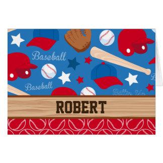 SPORTS Personalize Name Baseball Fan Fun Pattern Card