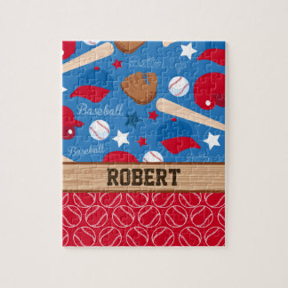 SPORTS Personalize Name Baseball Fan Fun Pattern Jigsaw Puzzle