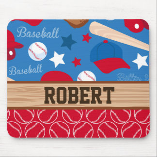 SPORTS Personalize Name Baseball Fan Fun Pattern Mouse Pad