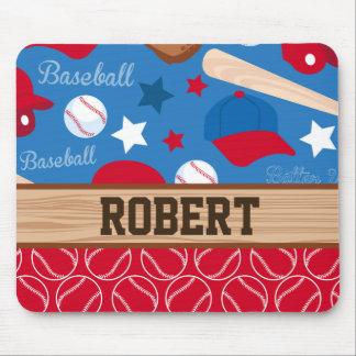SPORTS Personalize Name Baseball Fan Fun Pattern Mouse Pad