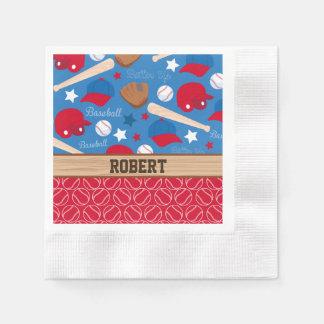 SPORTS Personalize Name Baseball Fan Fun Pattern Paper Napkin