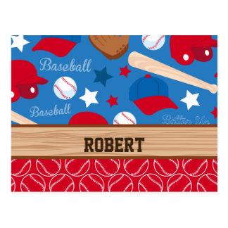 SPORTS Personalize Name Baseball Fan Fun Pattern Postcard