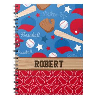 SPORTS Personalize Name Baseball Fan Fun Pattern Spiral Notebook