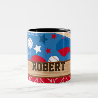SPORTS Personalize Name Baseball Fan Fun Pattern Two-Tone Coffee Mug