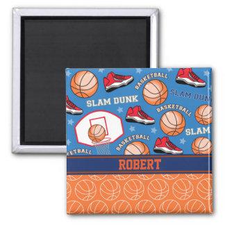 SPORTS Personalize Name Basketball Fan Fun Pattern 2 Inch Square Magnet