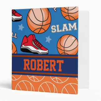 SPORTS Personalize Name Basketball Fan Fun Pattern Binder