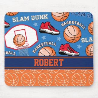 SPORTS Personalize Name Basketball Fan Fun Pattern Mouse Pad