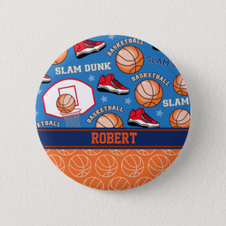 SPORTS Personalize Name Basketball Fan Fun Pattern Pinback Button