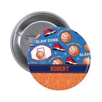 SPORTS Personalize Name Basketball Fan Fun Pattern Pinback Button