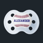 "Sports Personalized Baseball Pacifier<br><div class=""desc"">The perfect design for the budding sports fan! Design features a close up graphic of a baseball with red stitching. Inside the white part of the baseball is a place to personalize this Sports Personalized Baseball Pacifier with your baby&#39;s name in blue font.</div>"