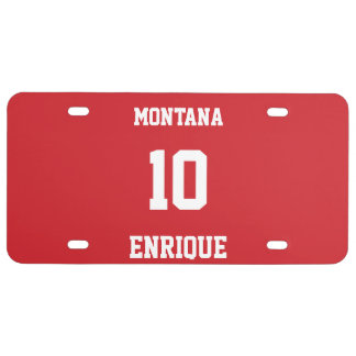 Sports Personalized Fire Engine Red License Plate