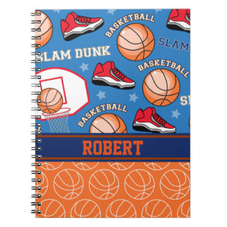 SPORTS Personalized Name Basketball Fan Pattern Notebook