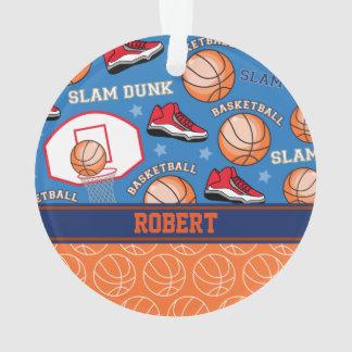 SPORTS Personalized Name Basketball Fan Pattern Ornament