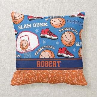 SPORTS Personalized Name Basketball Fan Pattern Throw Pillow