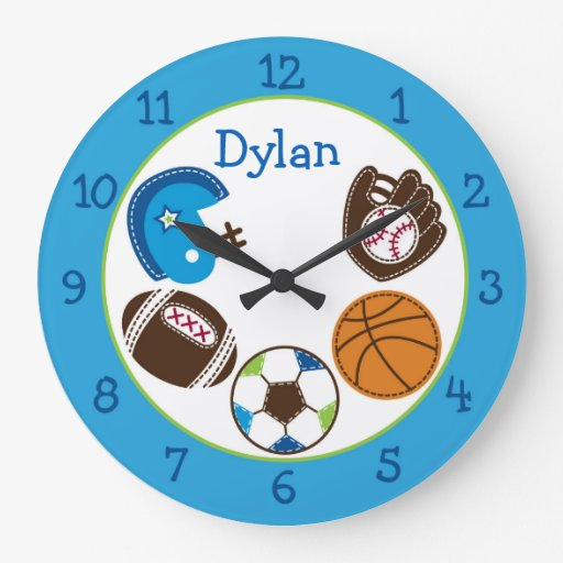 Sports Personalized Nursery Clock