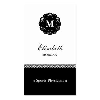 Sports Physician Black Lace Monogram Business Cards