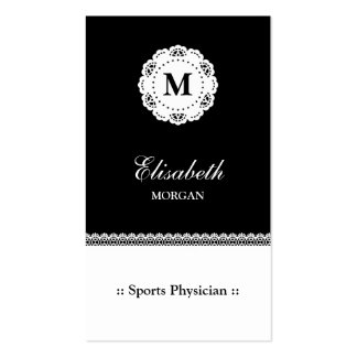 Sports Physician Black White Monogram Business Cards