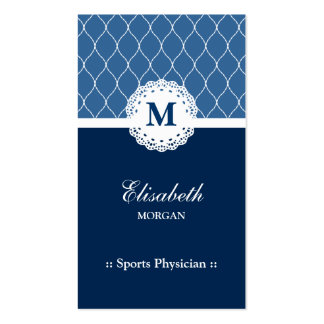 Sports Physician Elegant Blue Lace Business Card Template