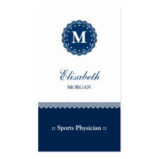 Sports Physician Elegant Blue Lace Monogram Business Card