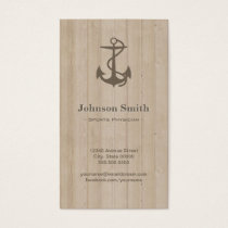 Sports Physician - Nautical Anchor Wood Business Card